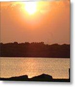 Sunset Over Galveston Bay Metal Print