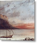 Sunset Over Lake Leman Metal Print by Gustave Courbet