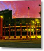 Sunset Over Lambeau Field Metal Print