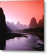 Sunset Over Li River Metal Print