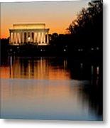 Sunset Over Lincoln Memorial Metal Print