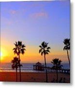 Sunset Over Manhattan Beach Metal Print