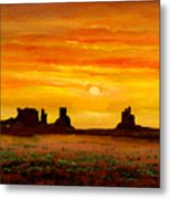 Sunset Over Monument Valley Metal Print