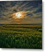 Sunset Over North Pas De Calais In France Metal Print