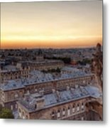 Sunset Over Paris Metal Print