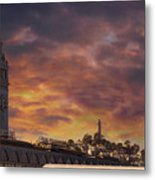 Sunset Over Port Of San Francisco Ferry Building Metal Print