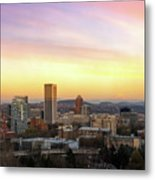 Sunset Over Portland Cityscape And Mt Hood Metal Print