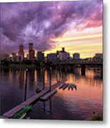 Sunset Over Portland Oregon Downtown Waterfront Metal Print