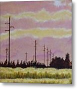 Sunset Over Powerlines Metal Print
