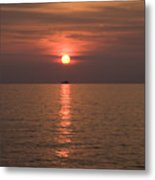 Sunset Over Pula Metal Print