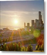 Sunset Over Seattle Downtown Skyline Metal Print