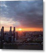 Sunset Over Singapore Metal Print