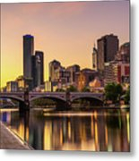 Sunset Over Skyscrapers Of Melbourne Downtown And Princes Bridge Metal Print
