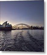 Sunset Over Sydney Harbor Bridge And Sydney Opera House Metal Print