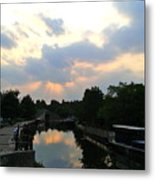 Sunset Over The Canal At Ladbroke Grove. Metal Print