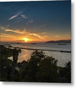 Sunset Over The Columbia River Metal Print