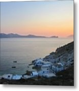 Sunset Over The Fishing Cove Of Klima On The Cycladic Island Of Milos Metal Print