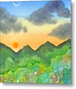 Sunset Over The Forest- Cloaked Mountains Metal Print