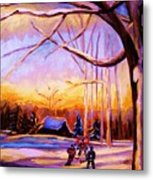 Sunset Over The Hockey Game Metal Print