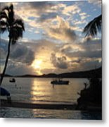 Sunset Over The Inifinity Pool At Frenchman's Cove In St. Thomas Metal Print