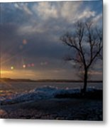 Sunset Over The Mississippi In Wisconsin Metal Print
