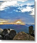 Sunset Over The Mountain Range Metal Print