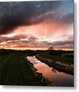 Sunset Over The River Wyre Metal Print