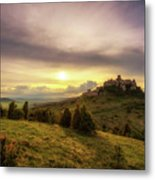 Sunset Over The Ruins Of Spis Castle In Slovakia Metal Print