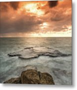 Sunset Over The Sea In Israel Metal Print