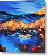 Sunset Over The Village 2 By Elise Palmigiani Metal Print