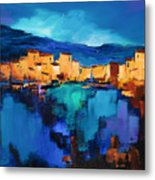 Sunset Over The Village 3 By Elise Palmigiani Metal Print