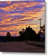 Sunset Over The Wheat Fields Metal Print