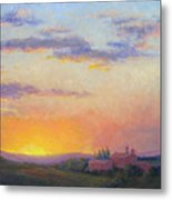 Sunset Over Tuscany Metal Print