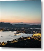 Sunset Over Udaipur In India Metal Print