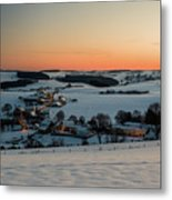 Sunset Over Winter Landscape Metal Print