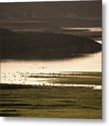 Sunset Over Yellowstone River In Yellowstone National Park Metal Print