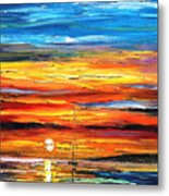 Sunset - Palette Knife Oil Painting On Canvas By Leonid Afremov Metal Print