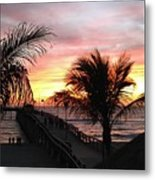 Sunset Palms At Sharky's On The Pier Metal Print
