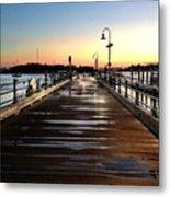 Sunset Pier Metal Print by Extrospection Art