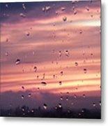 Sunset Raindrops Metal Print