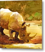 Sunset Rhino Metal Print