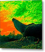 Sunset Rooster Metal Print