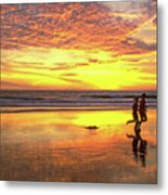 Sunset Ocean Runners Metal Print