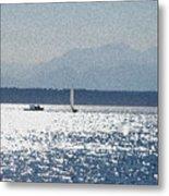 Sunset Sailboats  Metal Print
