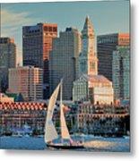 Sunset Sails On Boston Harbor Metal Print