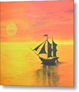 Sunrise Sea Ship Sss  Metal Print