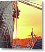 Sunset Ship Metal Print