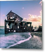 Sunset Shipwreck Metal Print