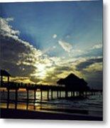 Sunset Silhouette Pier 60 Metal Print