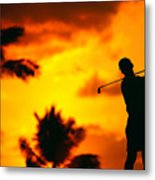 Sunset Silhouetted Golfer Metal Print